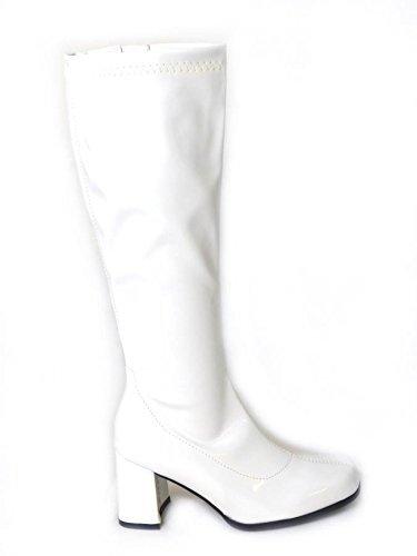 Zapatos con Hebilla (BS12733 para Mujer, Estilo Retro de los años 60 y 70, Color Blanco, Talla 38 EU