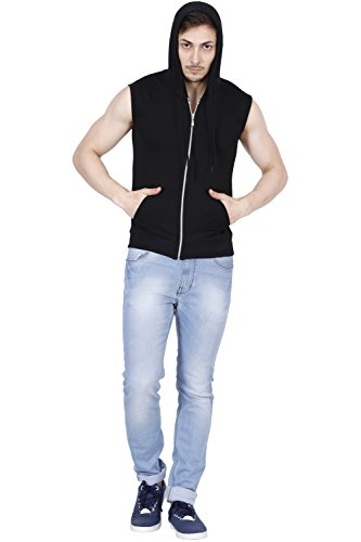 Fanideaz Hooded Cotton Black Zipper Jacket Sleeveless T Shirts for Men L