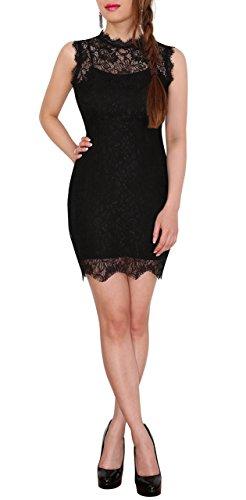SODACODA Ärmelloses Damen Sexy Spitzenkleid Partykleid Abendkleid Ballkleid Minikleid (Schwarz, S)