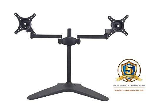 Allcam AMS05 dualer LED/LCD-Monitorständer für 2 Bildschirme mit schwerer Grundplatte für Monitore von 17 bis 24Zoll (43,2 bis 61cm) mit 30-Grad-Neigung nach oben und unten, 90-Grad-Schwenkung nach links und rechts, Wechsel zwischen Hochformat und Querformat