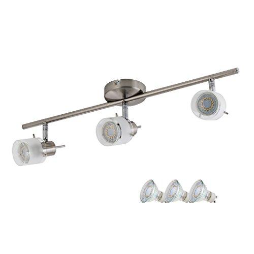Reflektor Satin (SEBSON Deckenleuchte 3 flammig, inkl. 3x GU10 LED Lampe 4W (3,5W) warmweiß, Leuchte Satin Nickel)