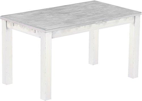 Brasilmoebel Esstisch Rio Classico 140 x 80 cm - Pinie Massivholz Farbton Beton - Weiß - in 27 Größen und 50 Farben - über 1000 Varianten -...