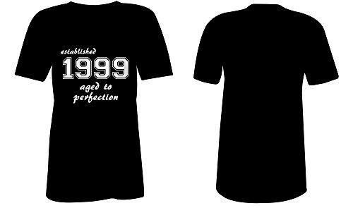 Established 1999 aged to perfection ★ V-Neck T-Shirt Frauen-Damen ★ hochwertig bedruckt mit lustigem Spruch ★ Die perfekte Geschenk-Idee (01) schwarz