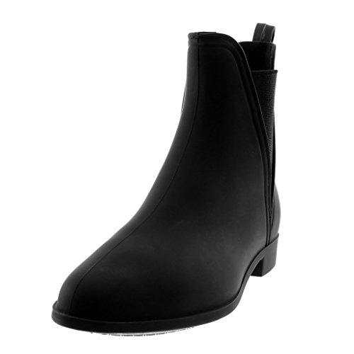 Angkorly Scarpe Moda Stivaletti Scarponcini Stivali Pioggia Slip-On Chelsea Boots Donna Elastico Tacco a Blocco 2.5 cm Nero