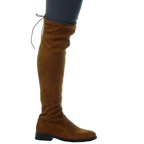 Angkorly - Scarpe Da Donna Stivali - Stivali Da Equitazione - Kavalier - Biker - Flessibile - Pizzo Tacco 3 Cm Cammello
