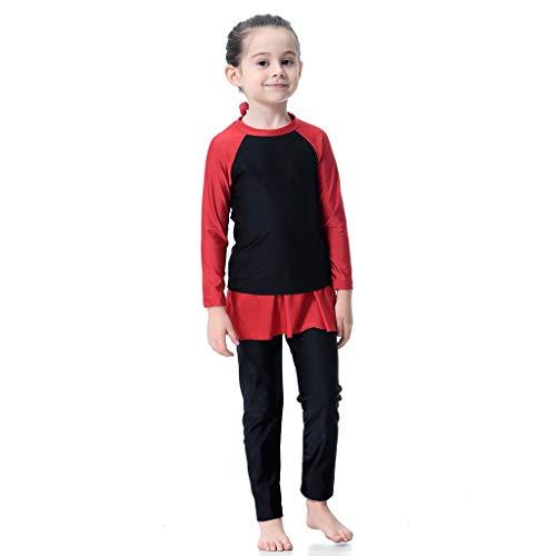 (Lonshell Kinder Mädchen Full Boby Tankini Beachwear Zweiteiliger Badeanzug mit UV-Schutz Langarm-Shirt und Hose Muslim Vollkörper Badebekleidung Alter1-15 Jahre)