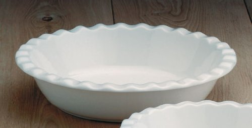 CKS Plat à tarte Profonde Tour froissée - Céramique Blanche (27cm)