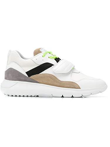 Hogan Uomo Sneakers H371 MOD. GYM3710AZ60K9D525X Interactive3 in Pelle Bianco con Velcro e Lacci 8½