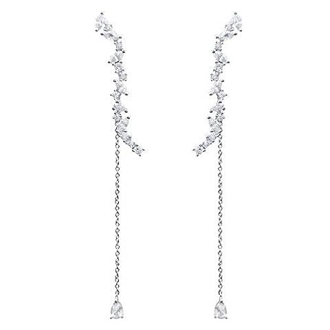 QUKE 925 Sterling Silver Cubic Zirconia Crystal Long Chandelier Dangle