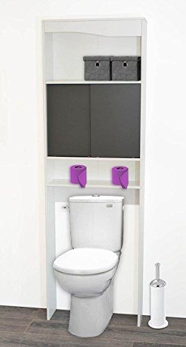 PEGANE Meuble WC Taupe en Bois avec 2 Portes coulissantes, 63x19,5x195cm