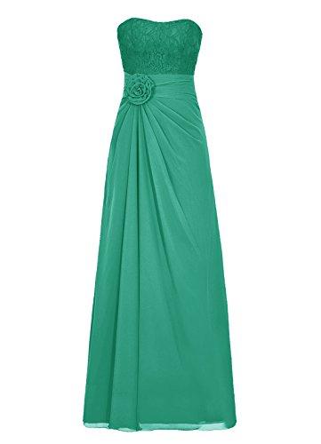 Dresstells Damen Abendkleider Bodenlang Strapless Homecoming Kleider Grün