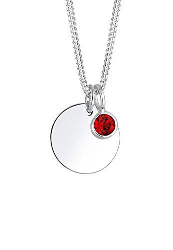 Elli Damen Schmuck Halskette Kette mit Anhänger Geburtsstein Januar Silber 925 Swarovski Kristalle Rot Länge 45 cm