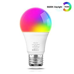 Smart Led Lampe E27 Wlan Mehrfarbige Dimmbare Lampe, Wifi Glühbirne Aoycocr Alexa Glühbirnen, A60, 6500 Kelvin, 750 Lumen, Ersetzt 70 W, Wifi Bulb Funktioniert mit Alexa Google Home IFTTT