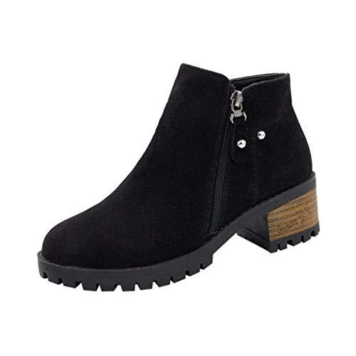 (Ausverkauf Damen Stiefel Flock Nieten Schuhe Martain Stiefel Wildleder Stiefeletten Block Heel Zipper Boot (Farbe : Schwarz, Größe : 5 UK))