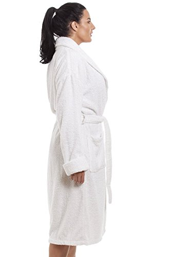 Accappatoio donna elegante 100% cotone - bianco Bianco