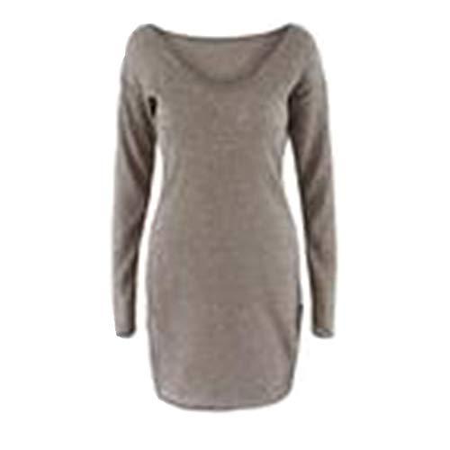 Dorical Strickkleid Damen Herbst Winter Warm Kaffee Lang Deep V-Kleid Hochwertige Sexy Modern Stylische Schöne für Frauen Billig Bestellen Online Shop Kleidung Sale