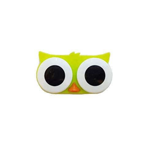 Kontaktlinsenbehälter - Süßer Kontaktlinsenbecher - Monatslinsen - Weiche & Harte Linsen - Tiere (Frosch, Teddy, Küken, Eule) - 5 Farben - MW Kontaktlinsenbehälter (Eule Grün)