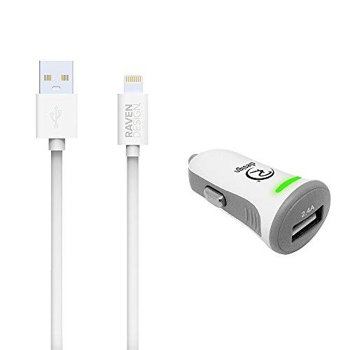 [Certifié APPLE MFi] Kit Raven design® Câble Lightning vers USB résistant 1,30 mètres + Chargeur allume cigare charge rapide 2,4A pour smartphone, tablette ou baladeur Apple