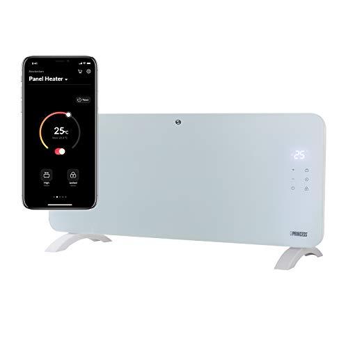 Radiateur connecté Wifi Princess - 2000 W - Panneau Verre Blanc