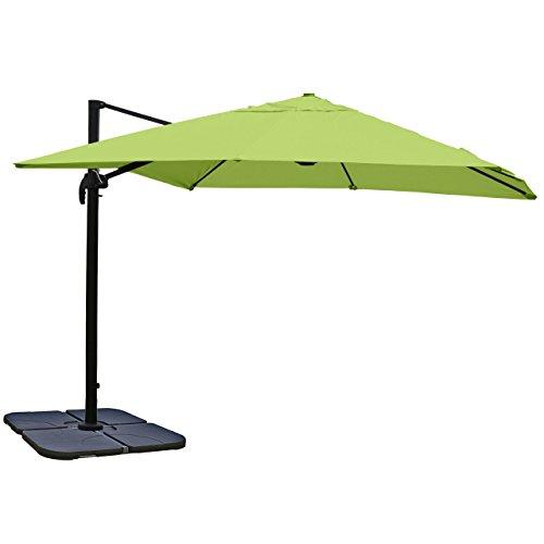 Gastronomie-Luxus-Ampelschirm Sonnenschirm N22, Ø 4,30 m ~ grün mit Ständer, drehbar