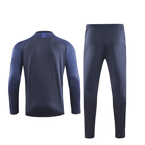 Fan-Shirts für Erwachsene, sportliches Fußball-Trainingsanzug-Set, schweißtrocken, bequem, lange Ärmel, lange Hose, personalisierbares Hemd, personalisierbare Namennummern für Chelsea Fans Gr. L, cyan