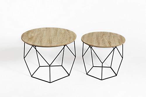 LIFA LIVING Runde Couchtische 2er Set aus schwarzem Metall und MDF-Holz | 2 Geometrische Beistelltische im Vintage-Stil mit Korbfunktion | bis zu 20 kg Belastbarkeit