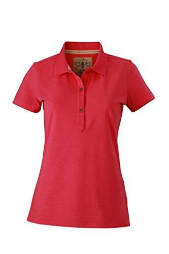 JAMES & NICHOLSON Figurbetontes stylishes Polo im Vintage-Look Pink