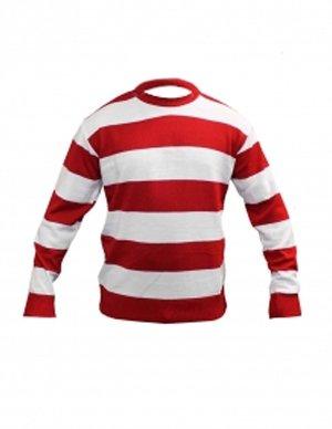 Waldo Kostüm Mädchen - Kinder Weiß -Rot-Streifen Pullover Alter 7-12