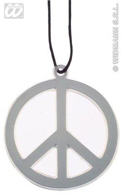 (HAAC Halskette Kette mit Peacezeichen Peace Zeichen Anhänger 10 cm Durchmesser)
