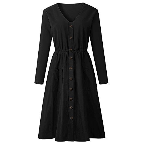 BHYDRY Frauen-Feste V-Ausschnitt-Knopf-Kleid-Lange Hülsen-Taschen-zufälliger Strand-langes Maxi Kleid(EU-42/CN-XL,Schwarz)