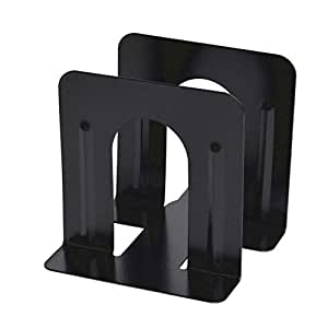 Electomania 1 Pair Black Metal Non-Slip Bookend Bracket Heavy Book End Office Book Stopper,Black, Great for Library, Office, Home, School