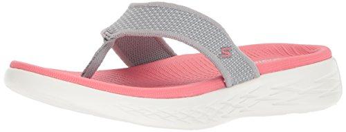 Skechers 15300, Sandali a Punta Aperta Donna, Grigio (Grey/Pink), 38 EU
