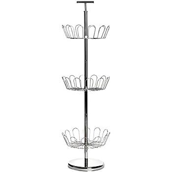 Premier Housewares 3-Tier Revolving Shoe Rack, 98 x 29 cm - Chrome