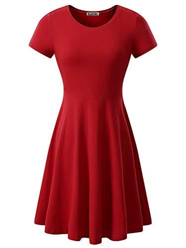 Suimiki Damen Skaterkleider Knielänge Rundhals Stretch Basic Kleide, Ziegelrot, S (Rot Mit Weißen Kleidern)