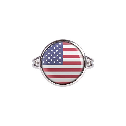 Mylery Ring mit Motiv USA Amerika America Vereinigte Staaten United States Flagge silber 14mm
