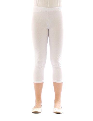 Kinder Mädchen Hose Leggings Leggins Capri 3/4 kurz Knie blickdicht Baumwolle Weiß Größe 140
