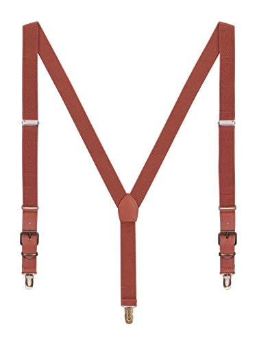 Herren Hosenträger Classic Retro PU Leder 3 Anti-Rost Clips Y Form 2,5cm Hosenträger Elastisch für Körpergröße 140-190cm - Braun (Kleinkind Vintage-anzüge)