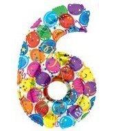 Betali 85946-P Megaloon para fiesta número 6, longitud de 40 pulgadas, multicolor, talla única