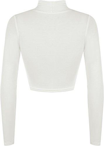 WearAll - Haut court à manches longues avec un col roulé - Hauts - Femmes - Tailles 36 à 42 Crème