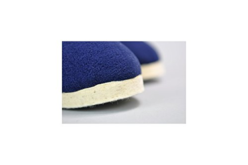 Gaston - Charentaise uni fourrée artisanale Hermance Bleu