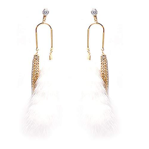 Yutongyi Zierlich Diamant Quaste Ohrringe Frauen Nerz Haar Ohrringe Tropfen Quaste Feder Ohrringe Mode Feder Kette Baumeln Ohrring Geburtstagsgeschenk