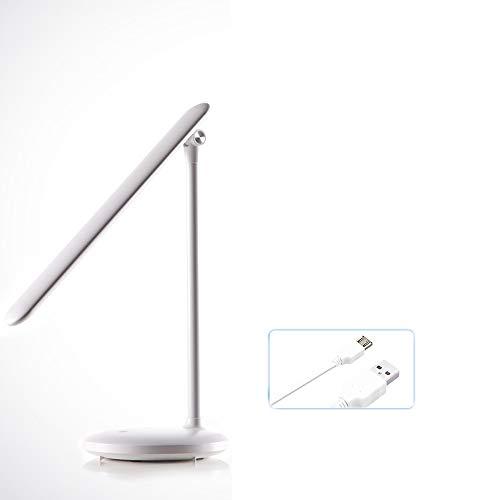 LJJ Stufenlose Verdunkelung der Temperatur mit DREI Farben nachladbare pluggable Gebrauch LED-Tischlampe, Lernlampe des Schlafsaalbüros,Weiß