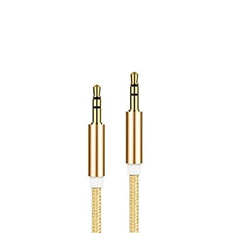 3,5-mm-AUX-Kabel verbesserte MyVigor geflochtene Universal (Gold) AUX-Kabel Audio Kabel 1m lang für Apple iPod Aux für iPhone iPad, Beats Kopfhörer, Autoradios, AUX-Kabel für Smartphones, MP3-Player und all Ihre Audio Media Entertainment. Siehe andere Farben (Civic Drum)