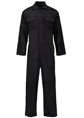 Islander Fashions Mens manica lunga Popper Tuta anteriore Totale adulti Abbigliamento da lavoro Meccanico Boilersuit Nero Grande