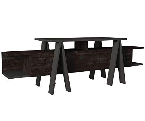 Alphamoebel 5088 Aspero Wohnwand TV Lowboard Board Tisch Fernsehtisch Fernsehschrank für Wohnzimmer, Holz, Rebab Braun Dunkelgrau Anthrazit, Fernsehablage, viel Stauraum, 160 x 50,7 x 45 cm