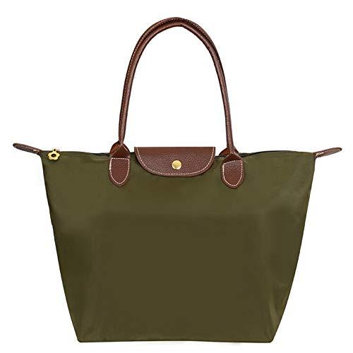 EXQULEG Tragetasche, Schultertaschen Damen Wasserdichte Handtaschen aus Nylon Umhaengetasche Strand Tasche (medium, Armygreen) -