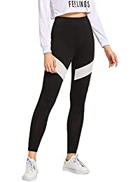 BLINKIN Yoga Gym Workout and Active Sports Fitness White Striped Black Leggings Tights for Women Girls(9330)