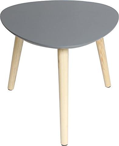 Couchtisch / Beistell-tisch im Retro-Stil, Sofatisch mit drei Beinen 40x40cm (Grau)