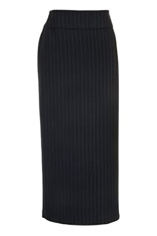 Busy Clothing Womens Black Stripe Long Skirt – Size 16