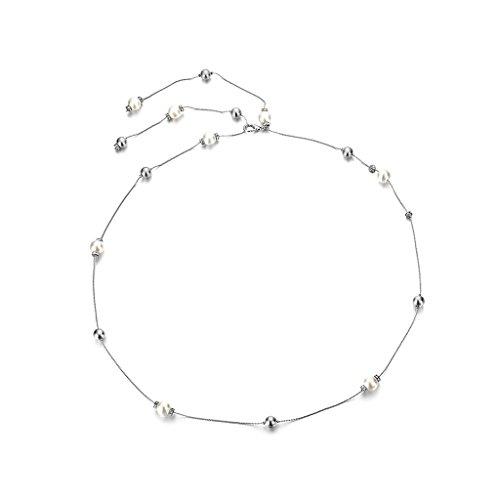 Perle Diamant Damen Taille Kette Charme Gürtel Silber Taillengürtel Kettengürtel - silber, onhe size
